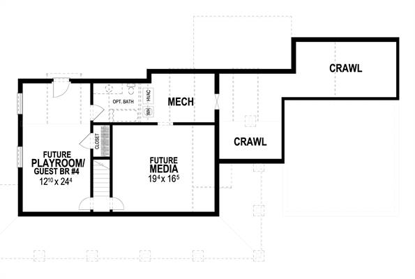 Lower Level image of Countryfield II House Plan
